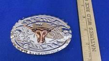 Belt Buckle Long Horn Cattle Cow Bull Aluminum Copper Plated Cowboy Rancher Farm