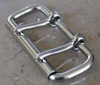 """3"""" Nickel Plated / Steel Heavy Duty Roller Buckles two prong belt buckle"""
