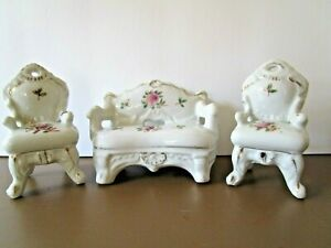Vtg Porcelain Miniature Dollhouse Furniture Couch 2 Chairs Victorian Roses Japan