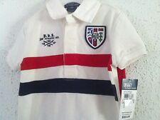 Ralph Lauren 2 pc Polo Shirt Cream w/Red Blue Stripe/Red Shorts Set Size 6M NWT