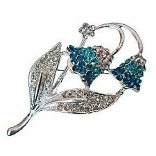 Elegant Bluebells Flower Silver & Sky Blue Brooches Pins BR54