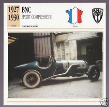 1927-1930 BNC Sport Compresseur Car Photo Spec Sheet Info French Card 1928 1929