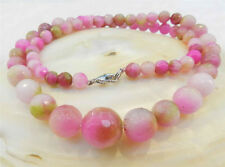 6-14mm Faceted Pink Multicolor Kunzite Round Gemstone Beads Necklace AAQ