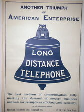 AT&T  Long Distance Telephone Original Harper's Weekly  Advertising 1899