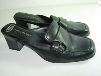 WOMENS BLACK LEATHER PARTNERS MULES CLOGS CAREER HIGH HEELS SHOES SIZE 6.5 M