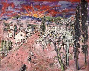 GUILLEMETTE MORAND (1913-1989) HUGE SIGNED FRENCH OIL SUNSET RETURN OF THE FLOCK