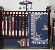 Navy Blue Nautical Boat Theme Baby Crib Bedding Set for Newborn Boy Sweet Jojo