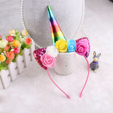 New Unicorn Headband Shiny Unicorn Horn Ears Flower Headdress Kids Party Cosplay