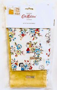 Cath Kidston Peanuts Snoopy Tea Towels Set Yellow Mustard Flowers Dish Cloths