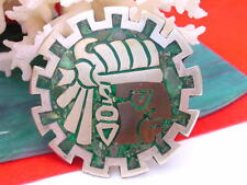 Vintage Sterling Copper Brass Taxco Mexico Stone AZTEC Inca Brooch Pendant