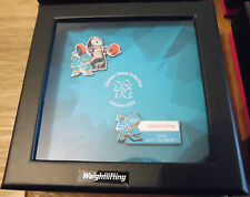 LONDON 2012 OLYMPICS 2 PIN BADGE VENUE SET WEIGHTLIFTING WINDOW BOX