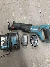 Makita DJR182 18V LXT XPT Cordless Reciprocating Saw Charger And 2 Batteries