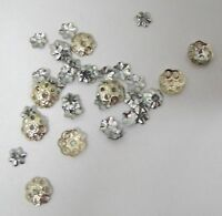 38 Vintage Silver Tone Metal Beads Caps Mixed Sizes & Shapes 4-6MM NICE!
