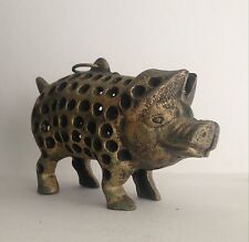 Unusual Vintage Brass Pig With Hanging Ring And Holes