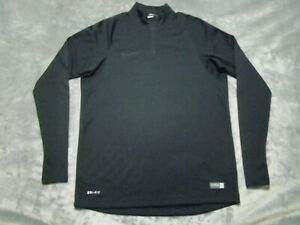 Nike Men's Size Medium Dri Fit 1/4 Zip Authentic Soccer Pullover Black Shirt