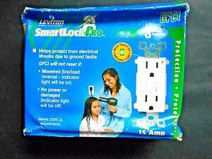 Leviton Smartlock Pro GFCI 15A White Outlets #7599-W 3 pack