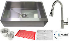 "36"" Flat Front Stainless Steel Farmhouse Kitchen Sink and Pull Out Faucet Combo"
