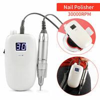 30000RPM Cordless Nail File Drill Kit Electric Manicure Pedicure Machine White