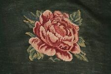 Large Rose Pink and Green Tapestry Chair Bench Needlepoint Completed Finished