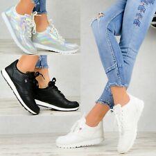 NEU Damen Schuhe Sneaker Weiß Plateau Glitzer Sport Freizeitschuhe Keilabsatz