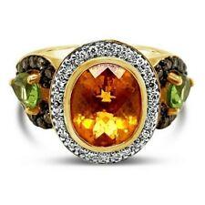 Levian ® Anillo Peridoto Diamantes De Vainilla Chocolate Diamantes Citrino ® 14K Miel Oro