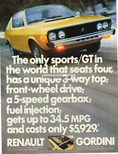 1975 Renault Gordini Yellow Vtg Print Ad