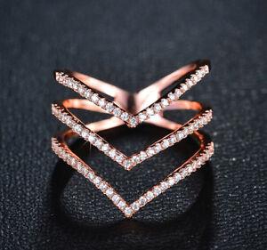 18k Rose Gold GP made w/ Swarovski Crystal Pave Stone V Ring Index Finger