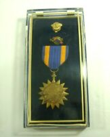 American Air Medal Eagle Gold Blue with Ribbon & Honorable Discharge Pin in Box