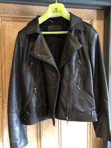 Kookai Leather Biker Jacket Soft Lambs Leather Size 10-12 Ex Con