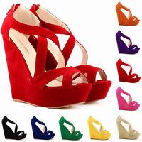Womens Charm Zipper Wedges Cross Strap High Heel Peep Toe Platform Sandals Shoes