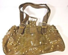 NWT Suzanne Somers GOLDEN GREEN BROWN STUDS Faux Leather SATCHEL Bag Purse $149