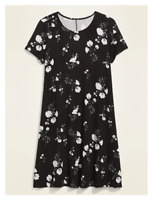 Old Navy Printed Jersey-Knit Swing Dress for Women Black Floral M item #610779
