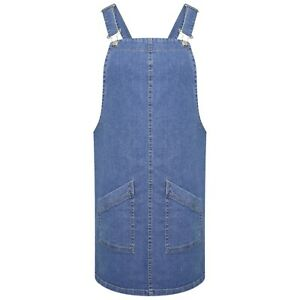 DeMina Womens Ladies Stretch Denim Dungaree Skirt Pinafore dress-Olivia