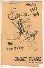 """The Zoo Story""  ""Krapp's Last Tape"" Playbill 1961 Off-Broadway  Albee, Beckett"