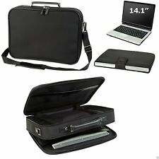 Executive Compu Briefcase Laptop Bag Case w/ Zippered Pocket Leather Trim, Black