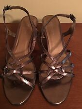 Bronze Wedding, Prom Strappy Sandal w/ Kitten heel Bronze Metallic Size 7