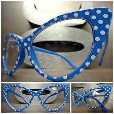 VINTAGE RETRO CAT EYE Style Clear Lens EYE GLASSES Blue & White Polka Dot Frame
