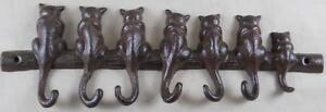 Iron Cat Key Rack w/ 7 Hooks - Cats Kitten Key Holder Animal Decor Gift Gifts