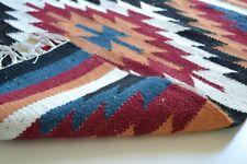 petit fait à la main Kilim Tapis en laine INDIEN Diamant rayures 60x90cm 2x3