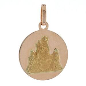 Ave Maria Pendant Medal - 18k Yellow & Rose Gold Catholic Faith Gift