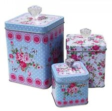 Set Of 3 Vintage Metal Shabby Cabbage Rose Butterfly  Biscuits Tins Canisters