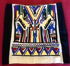 Zara Ethnic Embroidered Black Multicolor Coachella Fully Lined Mini Skirt sz M