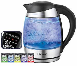 TODO 1.8L Glass Cordless Kettle Electric Blue Led Light Keep Warm 360 Jug Black