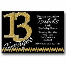 10 Personalised Boys & Girls Teenager 13th Birthday Party Invitations T225