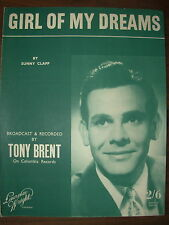 VINTAGE SHEET MUSIC - GIRL OF MY DREAMS - TONY BRENT