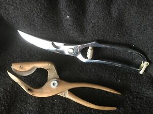 2 kitchen tools, J.A.HENCKELS POULTRY SHEARS, CHERRY STONE OPENER BRASS
