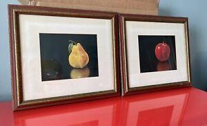 Surrealist Fruit Prints Apple Pear Hyperrealism NEL CARY Vintage 60s Retro Art