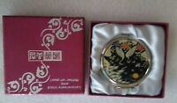Lacquerware Inlaid With Mother of Pearl Compact Mirror Loons