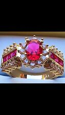 Gorgeous 14K Yellow Gold Plated ViVid Ruby&CZ Cluster Luxury Royal Style Ring