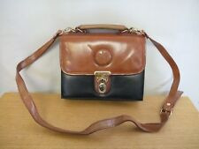 "Ladies Handbag Chiltern black/brown faux leather, size 9x7x4"" & strap, used 3158"